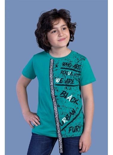 Toontoy Kids Toontoy Erkek Çocuk Şerit Detaylı Baskılı Tişört Yeşil